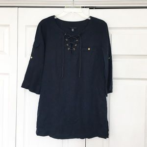 Tommy Hilfiger   Navy Blue Linen Tunic Top